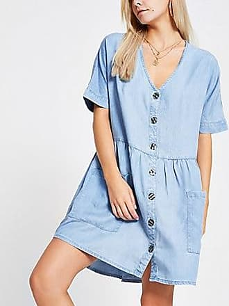 River Island Womens Petite blue denim swing dress