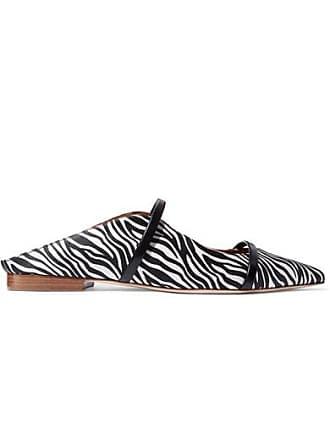 Malone Souliers Maureen Leather-trimmed Zebra-print Satin Point-toe Flats - Zebra print