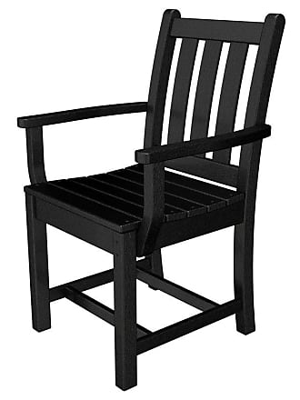 POLYWOOD Outdoor POLYWOOD Traditional Recycled Plastic Garden Dining Arm Chair Slate Grey, Patio Furniture - TGD200GY