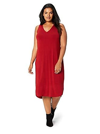 Daily Ritual Womens Plus Size Jersey Sleeveless V-Neck Dress, deep red, 3X