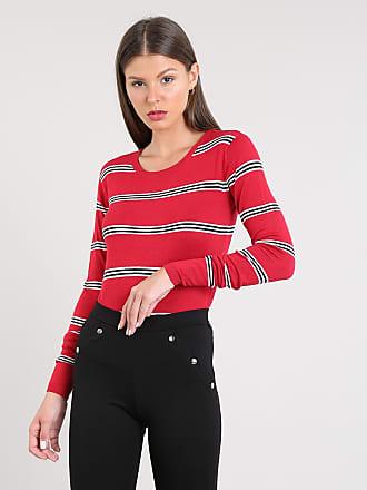 Basics Suéter Feminino Básico Listrado em Tricô Decote Redondo Vermelho