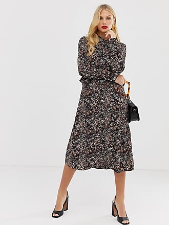 Y.A.S floral button through midi dress - Black