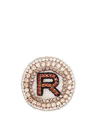 Rochas R Logo Crystal Embellished Brooch - Womens - Pink