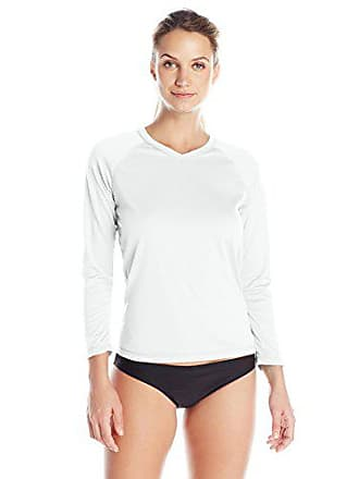 Kanu Surf Womens UPF 50+ Long Sleeve Active Swim Tee & Workout Top, White, Small