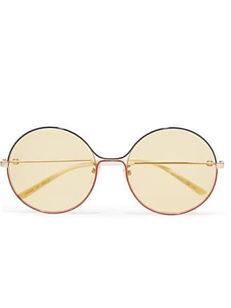 40187b90abe Gucci Oversized Round-frame Gold-tone Sunglasses - Yellow