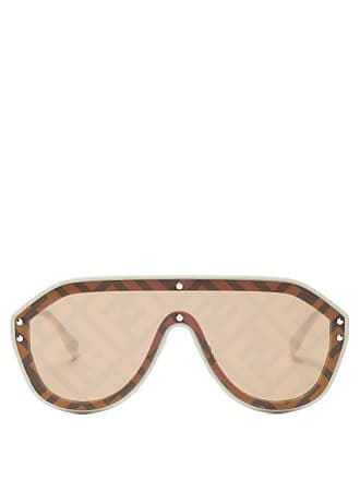 Fendi Ff Monogram Aviator Sunglasses - Womens - Brown Gold