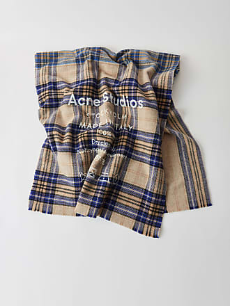 Acne Studios Cassiar Check Oatmeal Beige / Blue Check Checked logo scarf