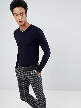 Gianni Feraud Premium Muscle Fit Stretch V Neck Sweater - Navy