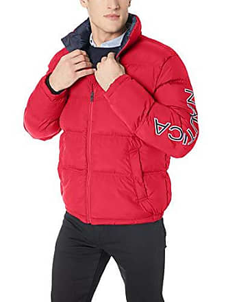 Nautica Mens Zip Front Artic Down Jacket, red, X-Large