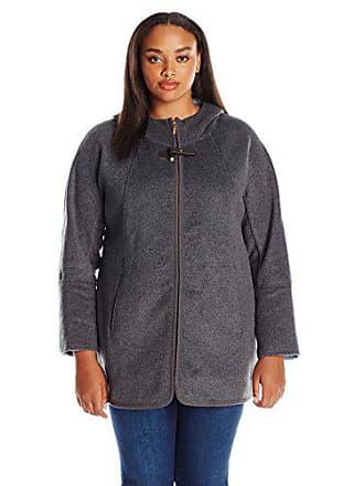 Ellen Tracy Outerwear Womens Zip up Hooded Wool Double Face A-Line Coat Plus Size, Smoke/Sky 1X