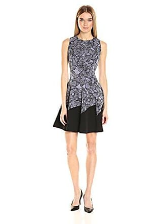 064bda71d0c Anne Klein Womens Lace Printed Crepe Jewel Neck Asymetrical Solid Border