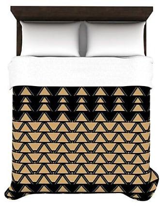 KESS InHouse Nina May Deco Angles Gold-Black 88 by 104-Inch Duvet Cover, King