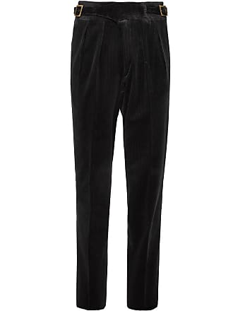 Rubinacci Manny Tapered Pleated Cotton-corduroy Trousers - Black