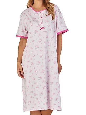 Slenderella Ladies Floral Nightdress Short Sleeve Cotton Interlock Lace  Trim Nightie UK 16 18 ( 2530147e3