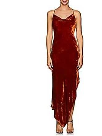 Juan Carlos Obando Womens Asymmetric Velvet Cowlneck Dress - Burnt Orange Size 10