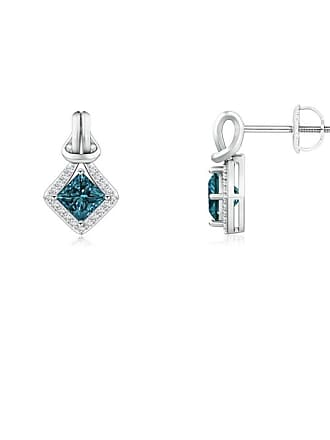 Angara Valentine Day Sale - Princess-Cut Enhanced Blue Diamond Love Knot Earrings
