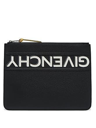 Givenchy Logo Appliqué Large Leather Pouch - Mens - Black White
