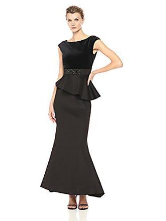Eliza J Womens Peplum Gown with Velvet Bodice, Black, 6