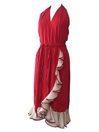 bbefc7461ad 1stdibs 1970s Vivid Sexy Red Silk Halter Disco Dress W  Ruffled Wrap Front