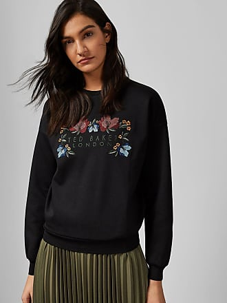 Ted Baker Branded Cotton Sweater in Black ANYALO, Womens Clothing