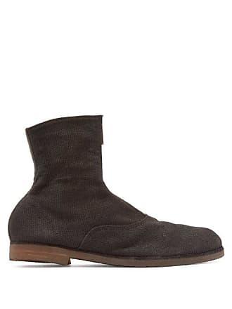 Guidi Front Zip Linen Canvas Boots - Mens - Black