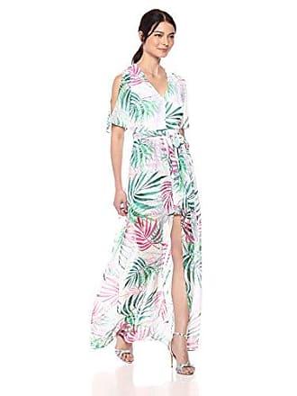 Kensie Dress Womens Tropical Print Walk Through, Green Multi, 6