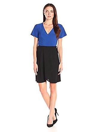 Star Vixen Womens Short Sleeve 2-Tone Faux Wrap Ballerina Dress with Tulip Skirt, Royal/Black, X-Large