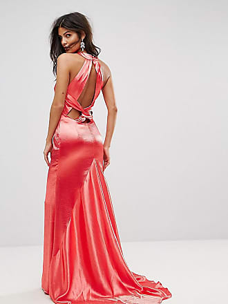 faeba48ec91d7e Jarlo High Neck Fishtail Maxi Dress With Strappy Open Back Detail