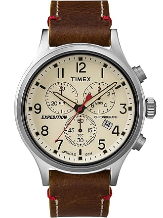 Timex Watch Mens Expedition Scout Chronograph 42MM Leather Strap Silver-Tone/brown/natural Item Tw4B04300Za