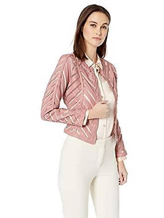 Yoki Womens Faux Leather Mesh Jacket, Mauve Small