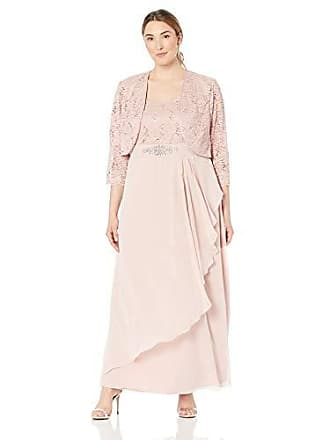746f06b1c82 Jessica Howard Plus Size Womens 3 4 Sleeve Lace Jacket Gown with Beaded  Waist
