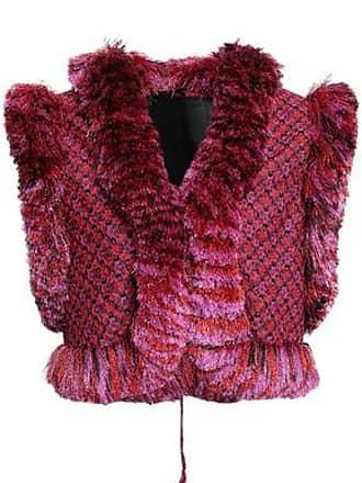 Missoni Missoni Woman Cropped Fringe-trimmed Metallic Crochet-knit Vest Fuchsia Size 40
