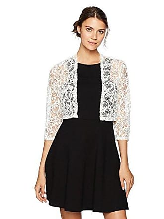 R&M Richards Womens 1 Piece Missy Size Laced Shrug with Glitter, White, Extra Large