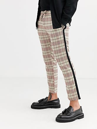 Topman skinny smart trousers in stone & red check