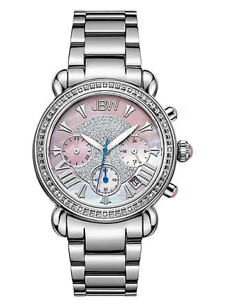 Zales Ladies JBW Victory Chronograph 1/6 CT. T.w. Diamond and Crystal Watch with Mother-of-Pearl Dial (Model: Jb-6210-F)