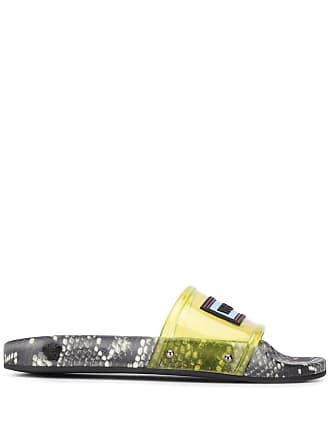 Versace snakeskin print slides - Yellow