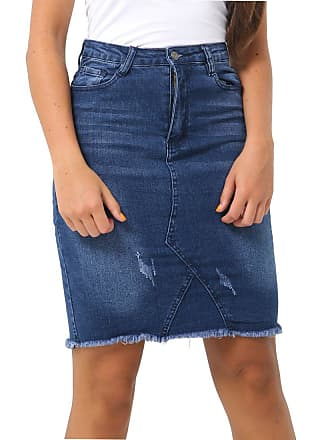 6710ee711c SS7 Womens Distressed Denim Skirt Ladies Rip Frayed Skirts Size 8 10 12 14  Dark Blue