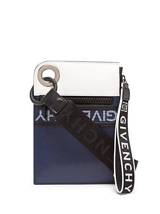 Givenchy Logo Print Leather Mini Messenger Bag - Mens - Navy