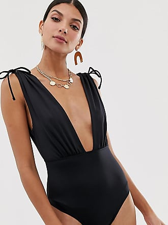 db8d41e4409d7 Asos Tall ASOS DESIGN Tall recycled ruched shoulder plunge swimsuit in black