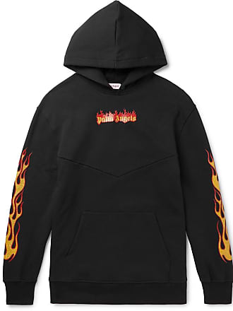 Palm Angels Oversized Glittered Logo-print Fleece-back Cotton-jersey Hoodie - Black