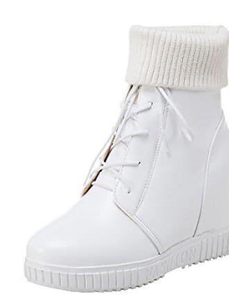 6af5e1844e2bb6 Agodor Damen Keilabsatz High Heels Plateau Stiefeletten mit Schnürung und  Stricken Moderne Gefüttert Ankle Boots Winter