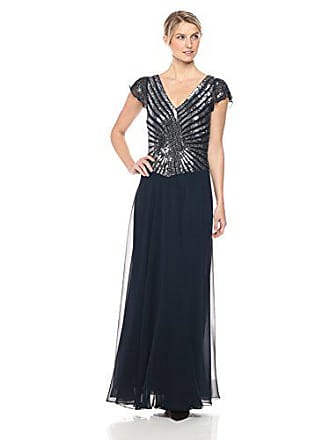 J Kara Womens Pull On Long Dress with Beads, Navy/Mercury, 10