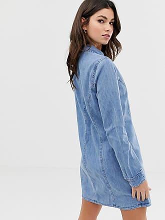fbf89602335 Asos denim fitted western shirt dress in midwash blue - Blue