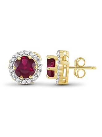 JewelersClub JewelersClub 2-1/2 Carat T.G.W. Ruby and White Diamond Accent 14kt Gold Over Silver Halo Earrings