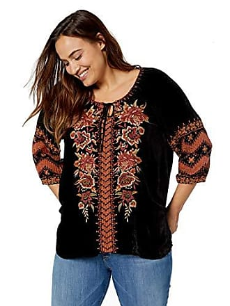 Johnny Was Womens Size Plus Embroidered Peasant Blouse, Black, 2X