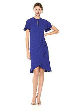 Nanette Lepore Womens Second act Flutter Sleeve Textured Dress, Blue Bell, 8