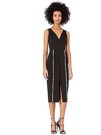 Yigal AzrouËl V-Neck Bodycon Dress with Constrasting Top Stitch (Jet) Womens Dress