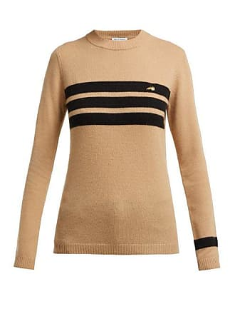 Bella Freud Embroidered Dog And Stripe Cashmere Sweater - Womens - Tan Multi