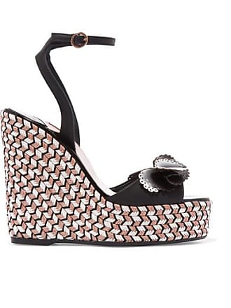 Sophia Webster Soleil Lucita Leather Espadrille Wedge Sandals - Black