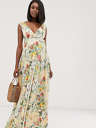 Asos Maternity ASOS DESIGN Maternity ruffle wrap maxi dress with tie detail in floral print-Multi